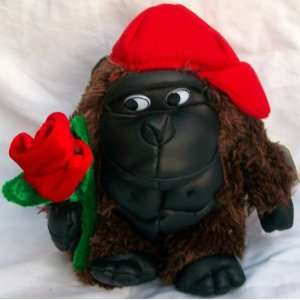 Brown Monkey Valentine Day Red Rose Flower Doll Toy Toys & Games