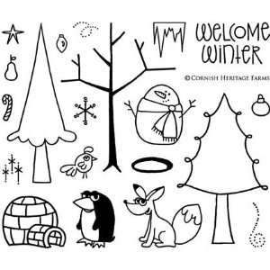 Winter Trees Cling Mounted Red Rubber Stamp Set from the