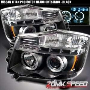 04 07 Nissan Titan Armada Blk Halo Projector Headlights