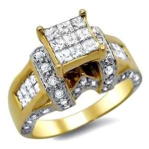 1.75ct Princess Cut Diamond Engagement Ring 14k Yellow