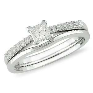 Gold 1/2 ctw Princess Cut Diamond Engagement Ring & Wedding Band Set