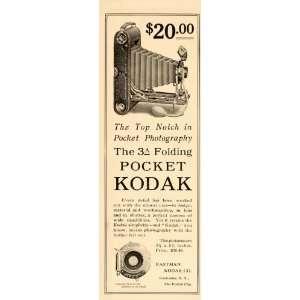 1908 Vintage Ad Kodak 3A Folding Pocket Camera Antique