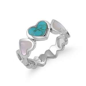 Sterling Silver Heart Turquoise and Pearl Ring Size 5 Jewelry