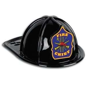 Black Plastic Fire Chief Hat (blue shield) Party Accessory