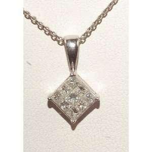 5ct Diamond & 14k White Gold Chain & Platinum Squar Pendant Brand