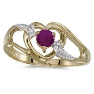 Yellow Gold July Birthstone Round Ruby And Diamond Heart Ring Jewelry