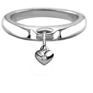 Chubby CZ Heart Charm Ring, Wide Domed Band in Sterling Silver   size