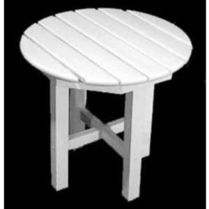 Recycled Plastic Round Side Table in White Patio, Lawn