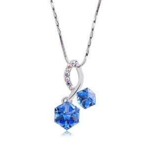 Box Pendant with Blue Swarovski Crystal (4550) Glamorousky Jewelry