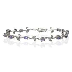 All Natural Tanzanite and Diamond White Bud & Leaf Bracelet in .925