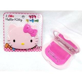 Sanrio Hello Kitty Face Compact Hair Comb & Mirror   Pink