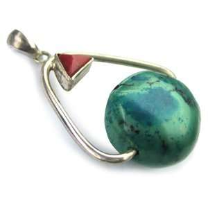 Abstract Tibetan Silver Pendant (with Turquoise