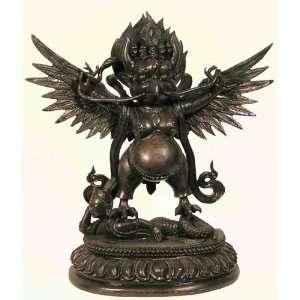 Tibetan Silver Statue Winged Garuda Treads on Naga