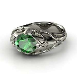 Hearts Crown Ring, Oval Emerald 14K White Gold Ring Jewelry