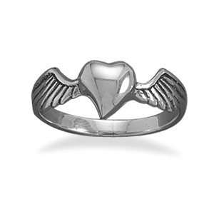 SOLID .925 Sterling Silver Heart with Wings Ring, Sizes 5