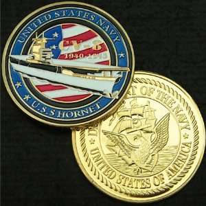 US Navy CV 8 Hornet Gold Plated Challenge Coin 256