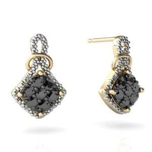 14K Yellow Gold Black Diamond Antique Style Earrings Jewelry