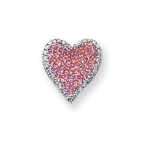 14k Rose Gold Diamond Pink Sapphire Vintage Heart Pendant
