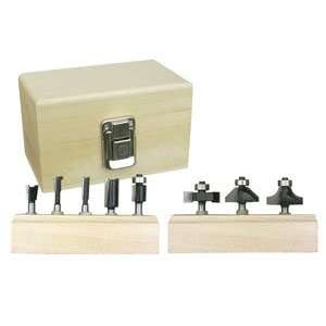 Tungsten Carbide Router Bit Set w/Wood Case (8 Pc.) Home Improvement