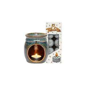 Teal Blue Rust Candle Lamp & Tea Light Candles Combo   1