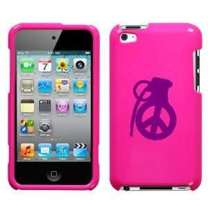 IPOD TOUCH ITOUCH 4 4TH PURPLE PEACE GRENADE ON A PINK HARD CASE COVER