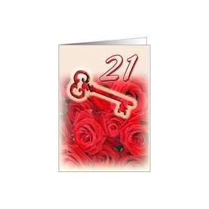 Happy 21st Birthday   Key and Red Roses Card : Toys & Games :