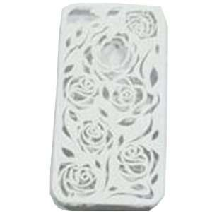 White Carving Flower Rose Snap Clip on Hard Cover Case for Iphone 4g