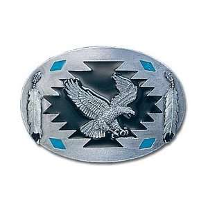 Pewter Belt Buckle   Flying Eagle with Feathers Sports & Outdoors