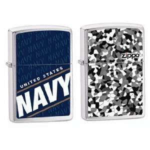 Zippo Lighter Set   City Speckle Camoflage w/ Zippo Name and US Navy