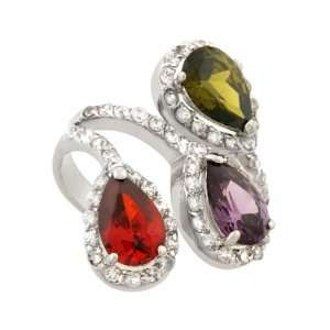 JanKuo Jewelry Silver Tone Multi Color Cocktail Ring with