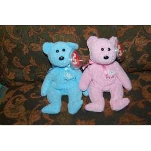 (2) Ty Beanie Baby Bears Baby Boy & Baby Girl