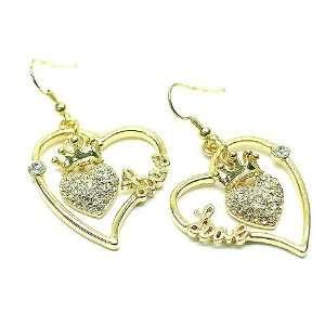 Juicy Look Crystal Heart Crown Love Hoop Earrings Gold