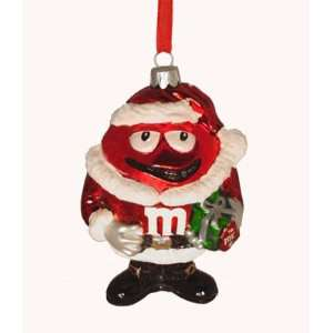 Candy Fantasy Red M&Ms Santa Claus Suit Glass Christmas Ornament