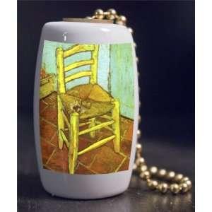 Fine Art Van Gogh Chair with Pipe Porcelain Fan / Light Pull
