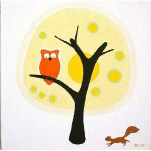 Modern Owls Summer Original Painting   Limited Edition