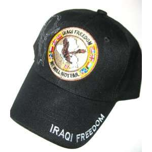 United States Iraqi Freedom Black Adjustable Hat