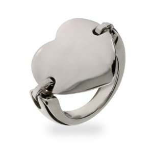 Heart Tag Stainless Steel ID Saddle Ring Size 8 (Sizes 5 6