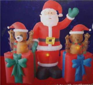 Animated Christmas Inflatable POP UP Air O Motion Santa Bear Puppy NIB