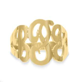 10K Gold Hand Cut Script Initial Ring (3 Letters)   View All