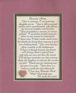 Dear AUNT Treasures FRIEND Mother Mom TRUST Laughter LOVE verses poems