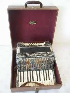 Vintage 25 Key 12 Button Hohner Accordion Accordian w/ Case