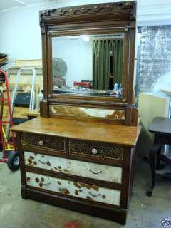 Antique Dresser with Mirror Western Rustic Cowhide