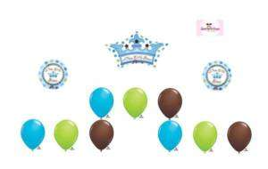 NEW LITTLE PRINCE CROWN BABY Boy Balloon Set Lot SHOWER Party Foil