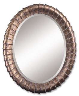 Oval Antiqued Bronze Wall Mirror Beveled Edges New