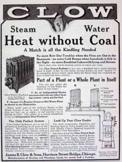 1910 James Clow & Sons radiator  boiler heating unit AD