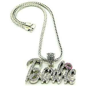 Nicki Minaj Barbie Iced Out Pendant Necklace Silver With