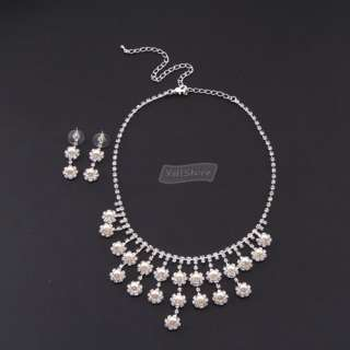 Flower Wedding Bridal Jewelry Necklace Earrings Set