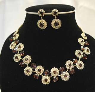 Set Wedding Bridal Bridesmaids Crystal Golden Necklace Earrings Set