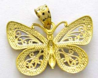 14k Real Yellow White Gold Butterfly Charm Pendant New