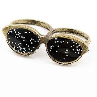 Fashion Punk Style Unique Antique Sunglasses Double Fingers Ring Cool